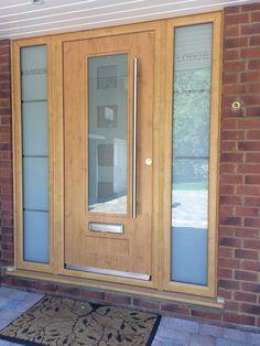 This interior barn doors is an extremely inspiring and incredible idea Front Door Canopy, Oak Front Door, Grey Front Doors, Front Door Porch, Porch Doors, Front Door Entrance, Front Door Design, Glass Front Door, House Doors
