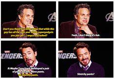 Mark Ruffalo & Robert Downey Jr. .. Stretchy pants? http://pinterest.com/yankeelisa/marvel-s-the-avengers-4/