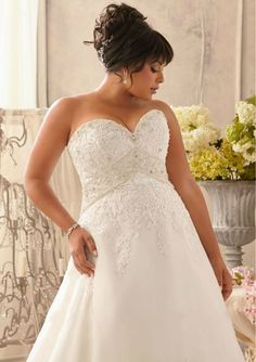 Discount  White A-Line Organza Plus Size Wedding Dress For Big Women Free Measurement