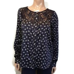 Guess Floral Lace Blouse Womens Size Medium Black White Button Front Long Sleeve #GUESS #ButtonUp #Business Floral Lace, Blouses For Women, Button Up, Black And White, Medium, Business, Long Sleeve, Sleeves, Shirts