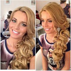Pretty side swept hair, wedding hairstyles, bridesmaid hair ideas