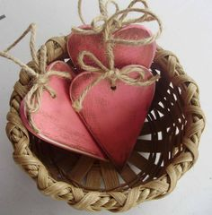 primitive valentine decor | Set of Three Primitive Pink and Brown Distressed Valentine Decor ...