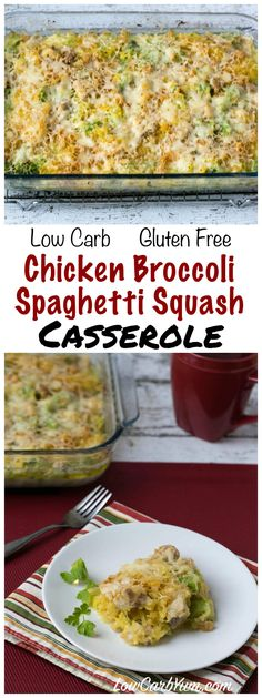 An easy chicken spaghetti squash casserole that has a creamy cheese sauce. Can be made with your choice of low carb vegetables like broccoli or cauliflower. (easy meals to make spaghetti squash) Broccoli Spaghetti, Easy Chicken Spaghetti, Spaghetti Squash Casserole, Broccoli Chicken, Healthy Spaghetti Squash Recipes, Whole 30 Spaghetti Squash, Creamy Spaghetti, Broccoli Alfredo, Pasta Spaghetti