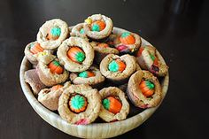 Peanut Butter Cookie Bites, with candy corn pumpkins!