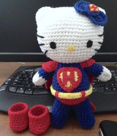 (4) Name: 'Crocheting : Superman Inspired Kitty Doll