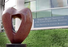 The Symbol of Excellence at the front of THI's building in the Texas Medical Center.