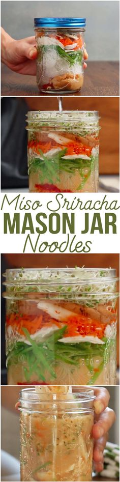 Miso Sriracha Mason Jar Noodles | This Recipe For Soup Made In A Mason Jar Is Just Too Easy For You Not To Make