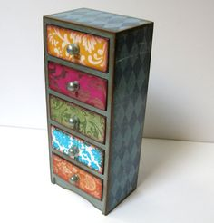 painted chest of drawers harlequin sides, fabric covered drawers