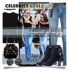 """""""NYFW Street Style"""" by goreti ❤ liked on Polyvore featuring A.L.C., Yves Saint Laurent, Chloé, Dolce&Gabbana, Fallon, The Row, NYFW and laceup"""
