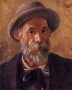 Pierre Auguste Renoir Self-portrait 1899 oil on canvas 41 × 33 cm Clark art institute, Massachussets.  Pierre Auguste Renoir was a French artist, and was a leading painter of the Impressionist style. As a young boy, he worked in a porcelain factory. His drawing skills were early recognized, and he was soon employed to create designs on the fine china. He moved to Paris in 1862 to study art, where he met Frederic Bazille, Claude Monet, and Alfred Sisley, all great impressionist painters.