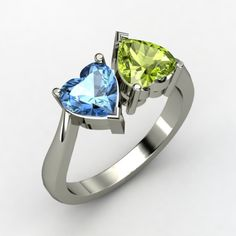 Twin Hearts Ring - Sterling Silver Ring with Peridot & Blue Topaz | Gemvara