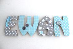 Plaque de porte prénom lettres en bois Thème Blue Star