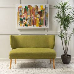 This Lansden mid-century loveseat is a great addition for any home. Featuring both comfort and style, the contemporary 2 seater sofa is perfect for a home office or living room. The slightly curved back of the settee helps provide extra comfort and also gives the settee a softer look. This settee is great on its own or with other furniture.