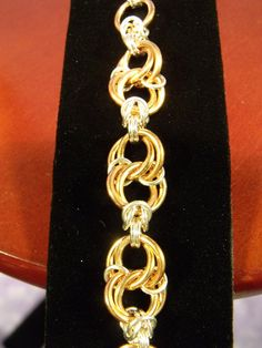 Copper and Sterling Silver Celtic Spiral Knots Chainmaille Bracelet by SilverTabbyStudios, $150.00