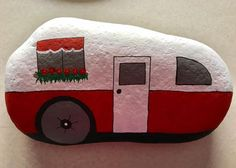 Camper painted rock - 24 easy rock painting ideas, stone art for your inspirati. Camper painted rock - 24 easy rock painting ideas, stone art for your inspiration Rock Painting Ideas Easy, Rock Painting Designs, Paint Designs, Pebble Painting, Pebble Art, Stone Painting, Painting Art, Paintings, Painted Rocks Craft