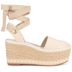 Tory Burch Dandy Espadrilles Wedges ($149) ❤ liked on Polyvore featuring shoes, sandals, ankle wrap sandals, espadrille wedge sandals, ankle strap sandals, platform espadrilles and ankle strap wedge sandals