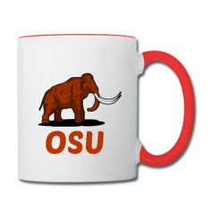 This design commemorates discovered Mammoth remains during construction at Oregon State University's Reser Stadium (left / right) Mammoth OSU White / Red Contrast Ceramic Coffee Mug