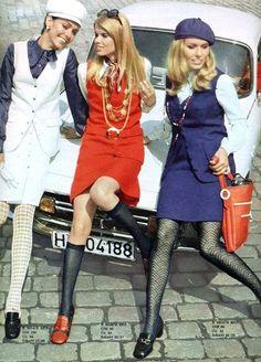 1960s fashion mini dress mod vest skirt red white blue blouse hat beret shoes tights vintage models