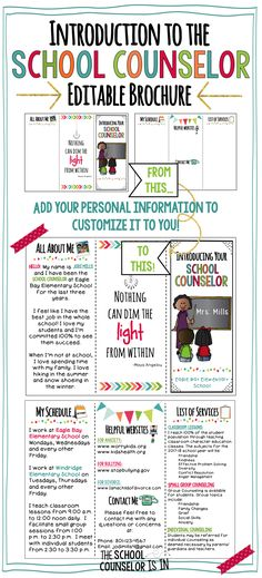This editable Introduction to the School Counselor Brochure is an effective way to introduce your role to students and parents. School Counselor Office, School Guidance Counselor, High School Counseling, Elementary School Counselor, School Social Work, Elementary Schools, Counseling Office, Group Counseling, School School