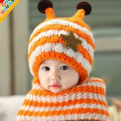 Kids Winter Cap and Shawl Set; Bee Style Baby Boys Girls Hats; Knitting Woolen Striped Hat and Scarf; Very Warm Children Caps