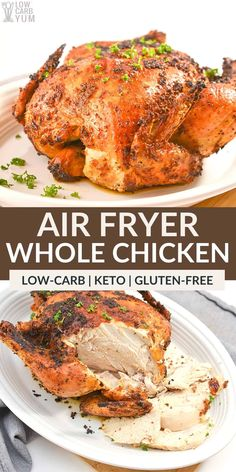 If you need a fast and easy keto recipe, cooking a whole chicken in the air fryer is the way to go. It's the perfect last-minute meal! Keto Fried Chicken, Low Carb Chicken Recipes, Healthy Low Carb Recipes, Low Carb Dinner Recipes, Meat Recipes, Real Food Recipes, Healthy Chicken, Keto Dinner, Turkey Recipes