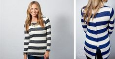 Striped Button Back Sweater!