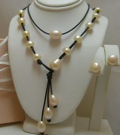 Large Floating  Genuine Pearls Versatile Lariat on Leather Necklace 3 piece set One Of A kind