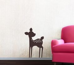 Fawn Vinyl Wall Decal - Nursery Baby Girl Boy Children - Nursery Wall Decal - Deer Wall Decal. $16.00, via Etsy.