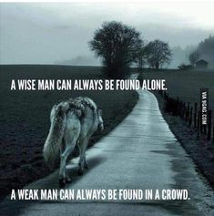 Wolf Quotes - A wise man can always be found alone. A weak man can always be found in a crowd.