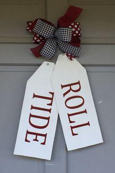 Wood Door Tags, Roll Tide Door Hanger, Roll Tide Door Tags,  Alabama Football, College Football, Houndstooth Ribbon, Alabama Door Hanger by HolidaysAreSpecial on Etsy