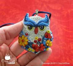 """Blue Jean"" Polymer Clay Owl by LisaDurham"