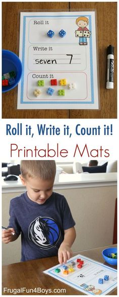 Printable Roll it, Write it, Count it Mats: Great for Preschool, Kindergarten and First grade teachers.