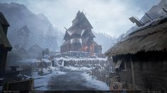 Brooke Olson talked about the modeling and texturing of her most recent navigable environment, inspired by Vikings. Fantasy City, Fantasy Castle, Fantasy Places, High Fantasy, Medieval Fantasy, Fantasy World, Game Environment, Environment Concept Art, Environment Design