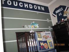 sports nursery for our twins, being avid football fans, we created the following room for our identical boy twins...unfortunately, it was hard to take good pictures based on how the room is configured.  , Nurseries Design