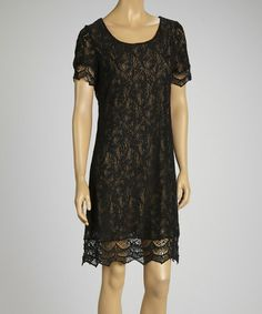 Another great find on #zulily! Black & Cream Lace Dress - Women #zulilyfinds