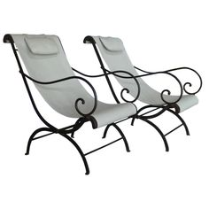 Pair of French Wrought Iron Garden Chairs