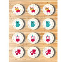 Three Digital Files  Cupcake Topper Cat Set by AiniPrintables