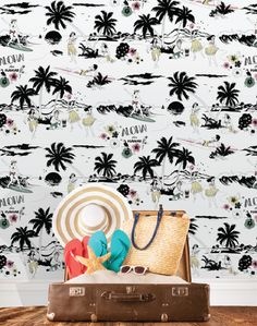 This Hawaiian themed tropical wallpaper is a sure way to heat up any room. Don't forget to bring the bongos! Dupenny, available at The Pattern Collective