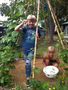 Some of the kids monitoring the teepee garden :)