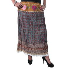 Mogulinterior Boho Gypsy Skirt Grey Floral Printed Cotton Long Boho Lacework Hippie Skirts
