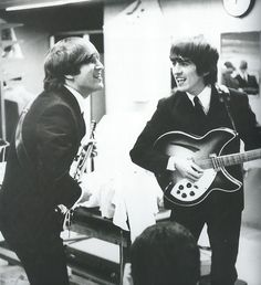 """""""I would step off stage with The Beatles and go talk to somebody, who would say, 'John and Paul won't talk to me,' or 'Lennon doesn't like me.' I'd say, 'Why?' And he'd say, 'Well, because of the way he looked at me.' I replied, 'Well, he looks at you that way because he hasn't got any glasses on. He can't see anything!' In a way, I felt a bit like an observer of The Beatles, even though I was with them. Whereas, John and Paul were the 'stars' of The Beatles."""" — George Harrison, Off The…"""