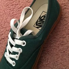 Dark green vans Dark green with brown soles. Brand new like. Only been used once but looks like I just bought them. Vans Shoes