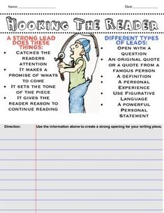 This is a fantastic hand drawn worksheet that will inform your students how to create a strong hook (lead) that will catch their readers attention. The artwork is sure to keep your students motivated and on task due to the powerful visuals and information.