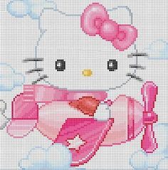 Free Hello Kitty in Airplane Cross Stitch Chart or Hama Perler Bead Pattern