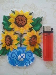 Sunflowers hama perler beads by Pernille Henriksen Perler Bead Templates, Diy Perler Beads, Perler Bead Art, Pearler Beads, Fuse Beads, Melty Bead Patterns, Pearler Bead Patterns, Perler Patterns, Beading Patterns