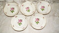 "SYRACUSE CHINA FEDERAL SHAPE 'VICTORIA"" ROSES 5 PC. BERRY BOWLS SET #SyracuseChina"