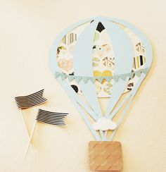 Hot Air Balloon Hearts Engagement Party Invitation - Light Grey Blue Cream Black Pink Sage Mustard Yellow. $2.50, via Etsy.