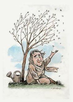 Caricatura di Alda Merini.