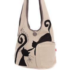Sac bandoulière chats enjoués, tissu crème peint main : Sacs bandoulière par lamusechic