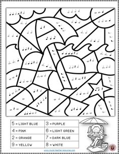 MUSIC WORKSHEETS: COLOR by MUSIC NOTES and RESTS This set contains 26 SUMMER Music Coloring music theory sheets.